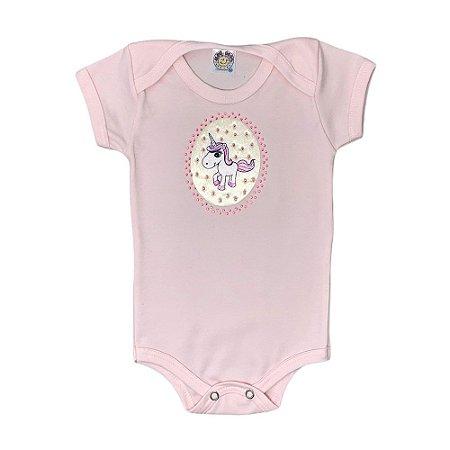 Body Bebê Unicórnio Meu Bebê Rosa