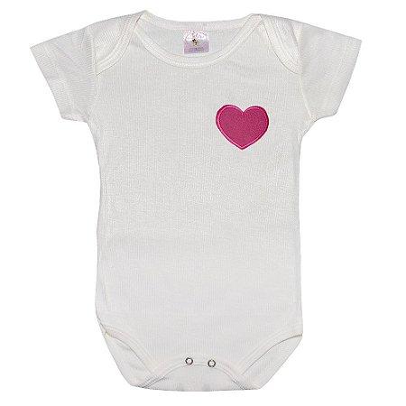 Body Infantil Com Aplique Coração Pérola