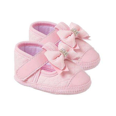 Sapatilha Bebê Laço Rosa