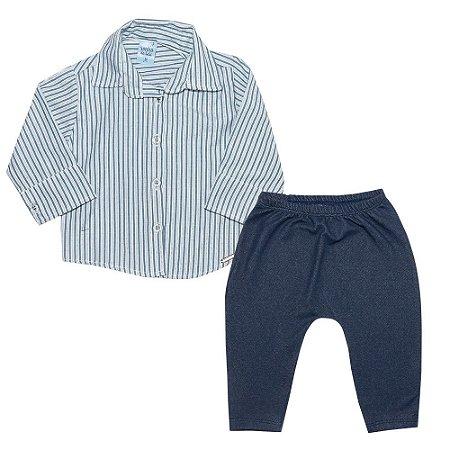 Conjunto Bebê Camisa Social e Calça Azul