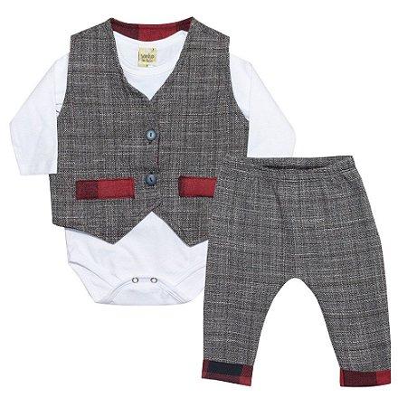 Conjunto Bebê Body, Calça e Colete Tecido