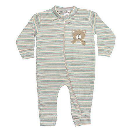 Macacão Bebê Listrado Com Aplique Urso Colorido