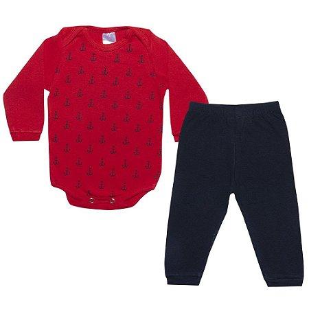 Conjunto Bebê Body Âncoras Vermelho