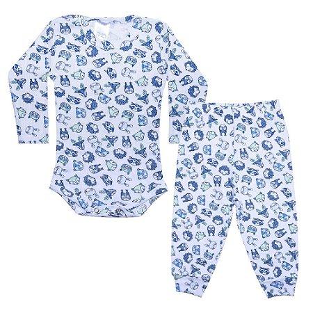 Conjunto Bebê Body Canelado Bichinhos Branco