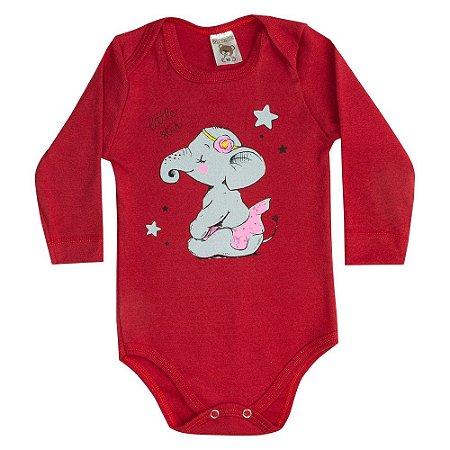 Body Bebê Manga Longa Elefantinha Vermelho