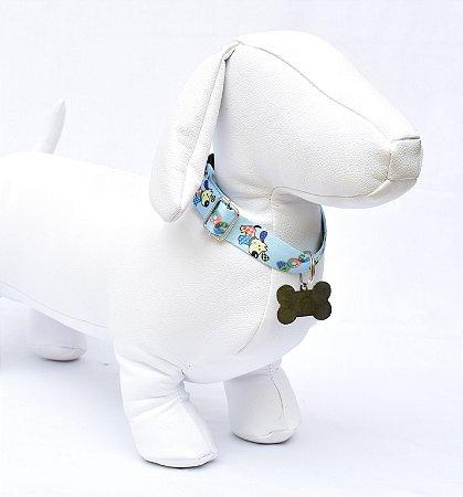 Coleira m - azul cachorrinhos