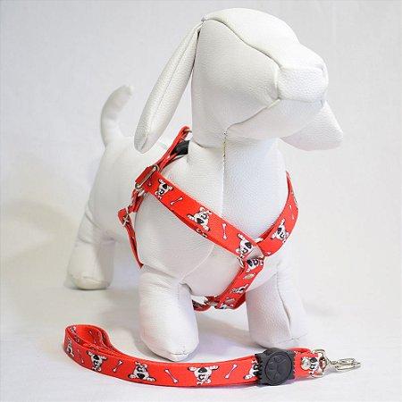 Peitoral com guia - 1 pequeno porte - vermelho cachorrinho
