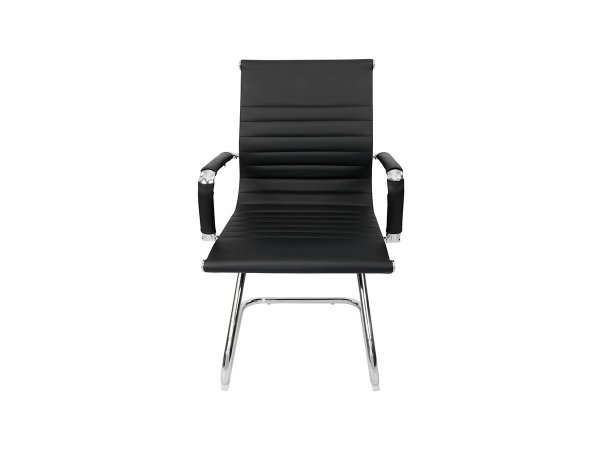 1 Cadeira Esteirinha Em Couro Pu Interlocutor Secretária Preta