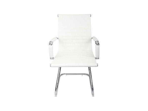 1 Cadeira Esteirinha Em Couro Pu Interlocutor Secretária Branca