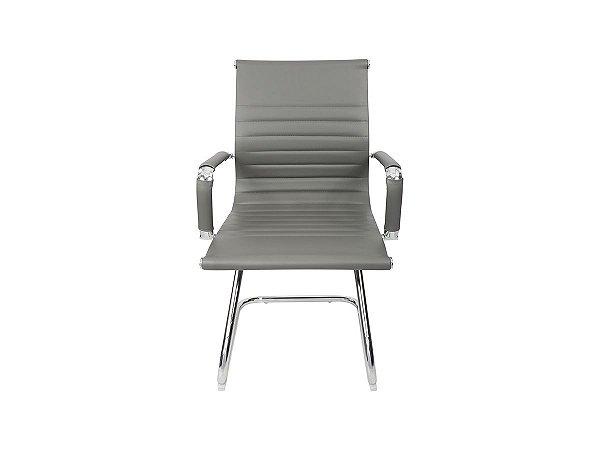 1 Cadeira Esteirinha Em Couro Pu Interlocutor Secretária Cinza