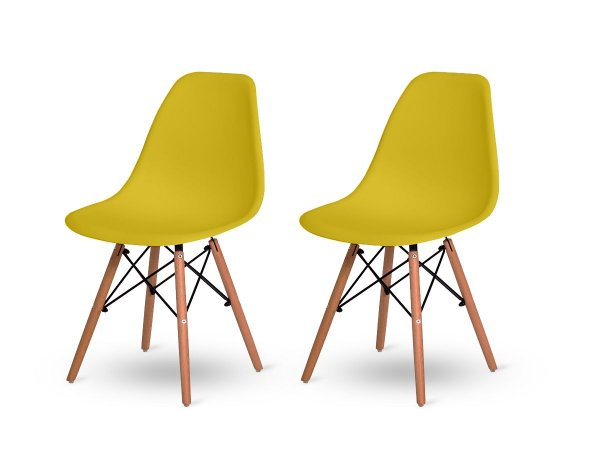Kit 2 Cadeiras Jantar Wood Base Madeira Eiffel Charles Eames Amarelo