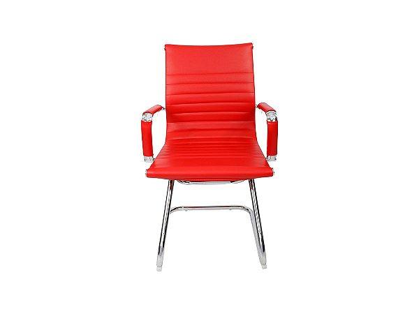 1 Cadeira Esteirinha Em Couro Pu Interlocutor Secretária Vermelha