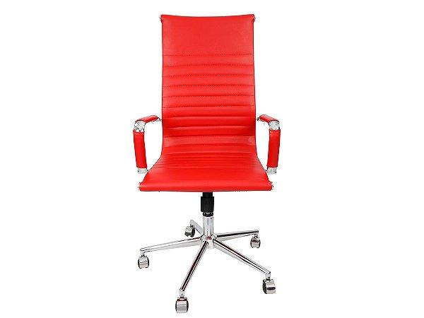 1 Cadeira Presidente Giratória Esteirinha Charles Eames Vermelha