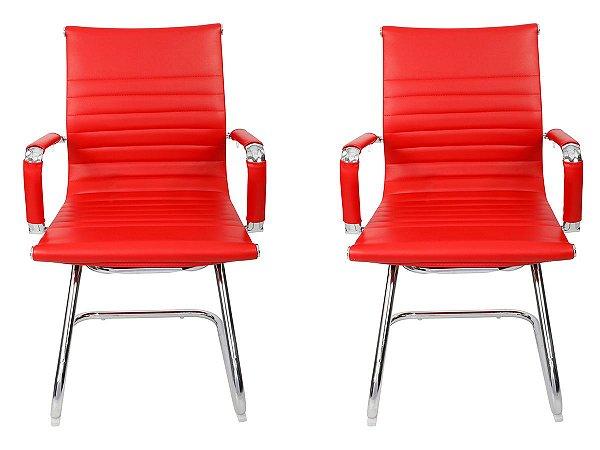Kit 2 Cadeiras Pés Fixos Interlocutor Secretária Esteirinha Vermelha