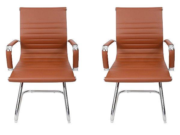 Kit 2 Cadeiras Pés Fixos Interlocutor Secretária Esteirinha Marrom
