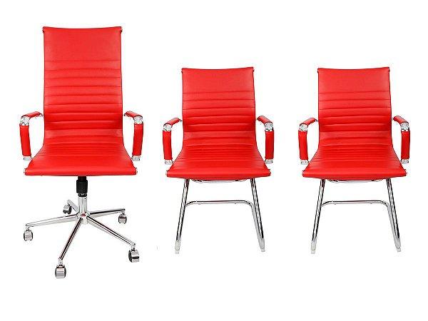 Combo 2 Cadeira Esteirinha Em Couro e 1 Cadeira Presidente Giratória Vermelha