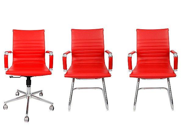 Combo 2 Cadeira Esteirinha Em Couro e 1 Cadeira Secretária Executiva Vermelho