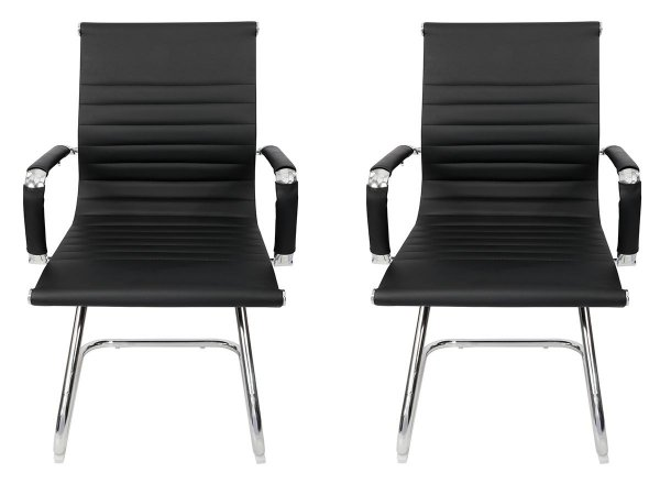 Conjunto 2 Cadeiras Pés Fixos Interlocutor Secretária Esteirinha