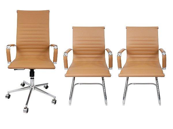 Combo 2 Cadeira Esteirinha Em Couro e 1 Cadeira Presidente Giratória Bege