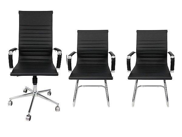 Combo 2 Cadeira Esteirinha Em Couro e 1 Cadeira Presidente Giratória Preta