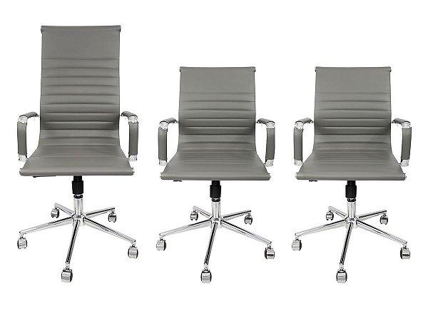 Combo 2 Cadeira Secretária Executiva e 1 Cadeira Presidente Giratória Cinza