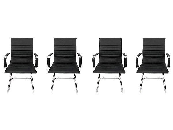 Kit 4 Cadeiras Pés Fixos Interlocutor Secretária Esteirinha