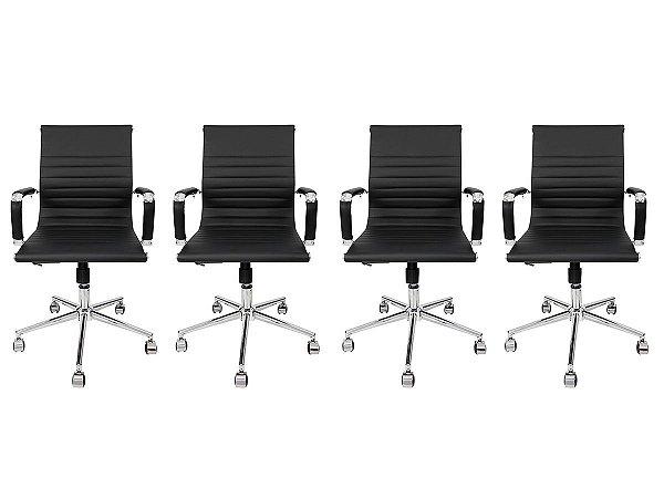 Kit 4 Cadeira Secretária Executiva Charles Eames Esteirinha