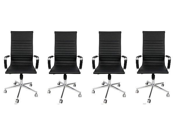 Kit 4 Cadeira Presidente Giratória Esteirinha Charles Eames