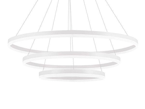 Lustre Candelabro Pendente Contemporâneo 3 Anéis Branco 6000K