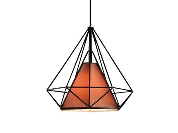 Lustre Pendente Aramado Marrom Triangular Diamante 35 Cm
