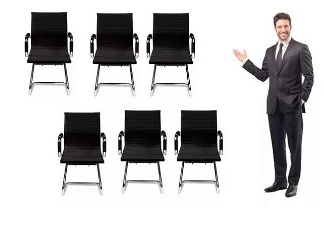 Kit 6 Cadeiras Secretária Giratória Esteirinha Charles Eames