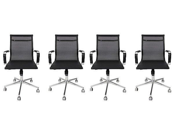 Kit 4 Cadeira Secretária Executiva Charles Eames Esteirinha Tela Mesh