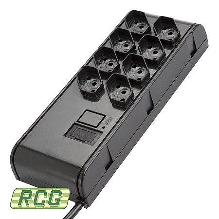 Filtro de linha RCG 8 tomadas bivolt preto