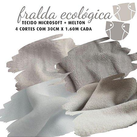 Tecido Melton + Microsoft para Fralda Ecológica cor Branco e Cinza