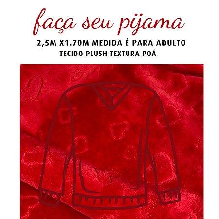 Tecido Plush Textura Vermellho para Pijama Adulto 2.5x1.70m