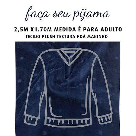 Tecido Plush Textura Marinho para Pijama Adulto 2.5x1.70m