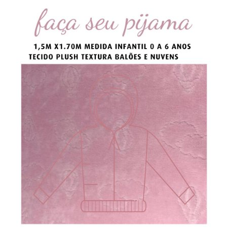 Tecido Plush Balões Rosa Pijama Infantil 1.5x1.70m