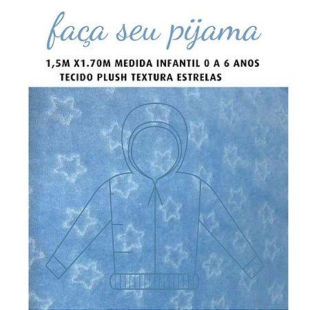 Tecido Plush Estrelas Azul Pijama Infantil 1.5x1.70m