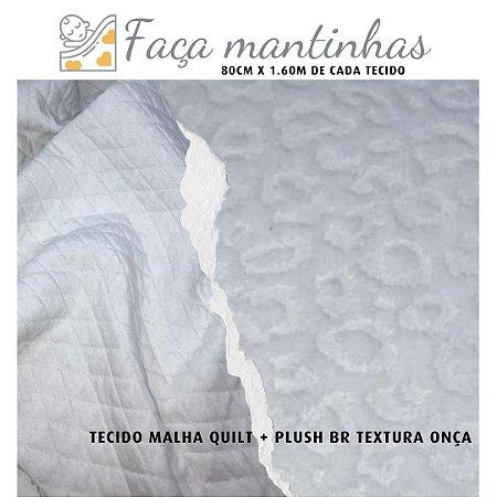 Tecido para Mantas Malha Quilt Branco + Plush Onça Branco 80cm x 1.60m cada