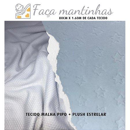 Tecido para Mantas Malha Pipo Branco + Plush Estrelar Branco 80cm x 1.60m cada