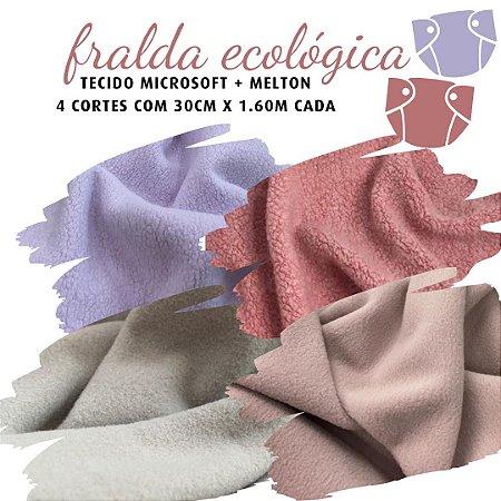 Tecido Melton + Microsoft para Fralda Ecológica 30cm X 1,40m cada Rosados