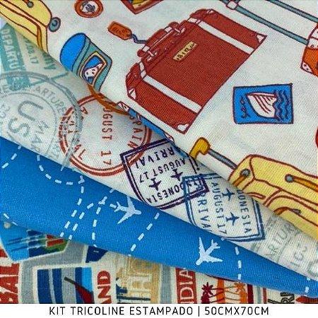 Kit Tricoline 4tecidos VIAGEM 50cmx70cm cada