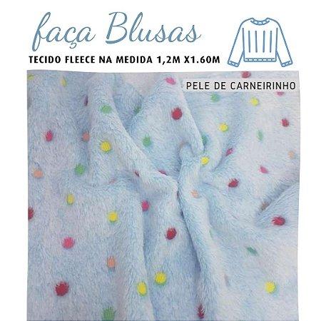 Tecido para Blusa Fleece  Poas Coloridos 1,20x1.60m