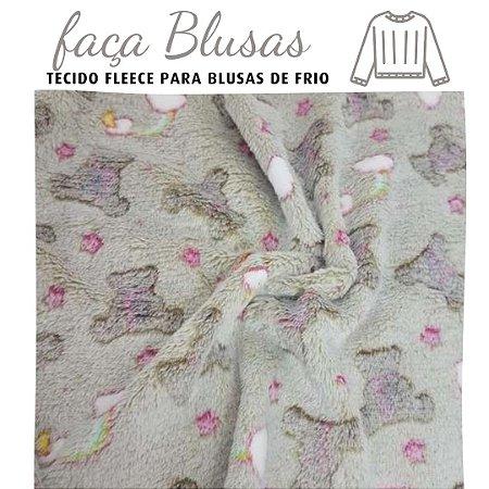 Tecido para Blusa Fleece Ursinhos fundo Bege Acinzetado  1,20x1.60m