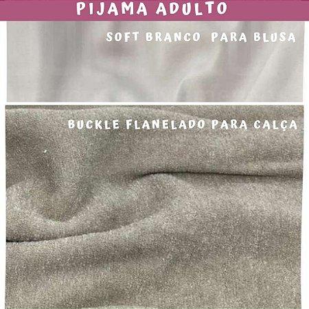 Tecido para Pijama Soft Branco + Buckle Flanelado Mascavo