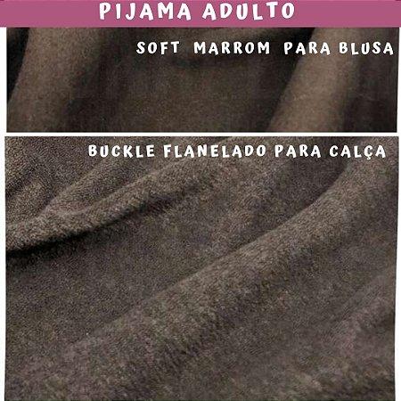 Tecido para Pijama Soft Marrom + Buckle Flanelado Marrom