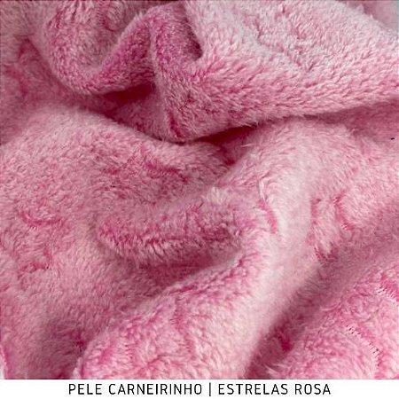 Pele Carneirinho Estrelas Rosa 50cmx1,60m