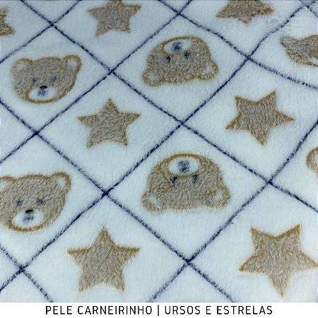 Microfibra Fleece Ursos Estrela Azul 50cm x 1,60m