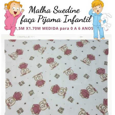 Malha Suedine estampa Ursinha Charmosa para Pijama Infantil 1,50cm x 1.70m