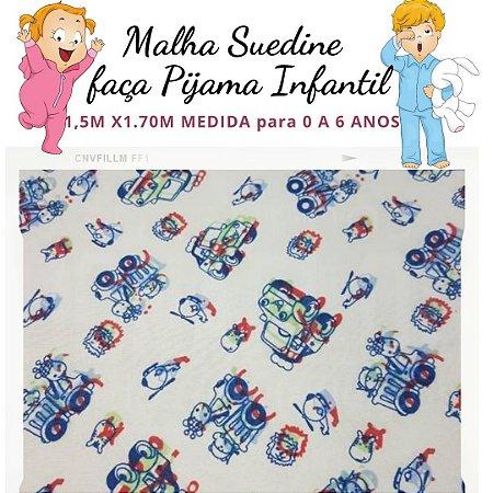 Malha Suedine Carros com Bichos para Pijama Infantil 1,50cm x 1.70m
